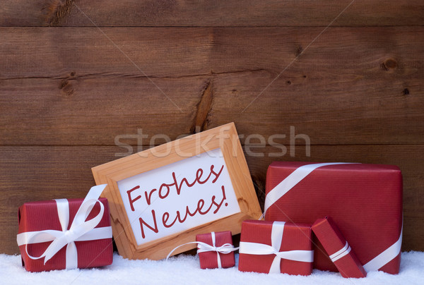 Red Christmas Decoration, Gift, Snow, Frohes Neues Mean New Year Stock photo © Nelosa