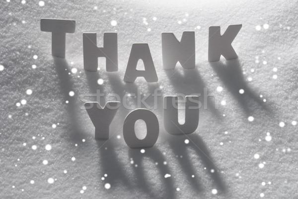 White Word Thank You On Snow, Snowflakes Stock photo © Nelosa