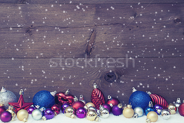 Vintage Christmas Card With Colored Balls, Copy Space, Snowflake Stock photo © Nelosa