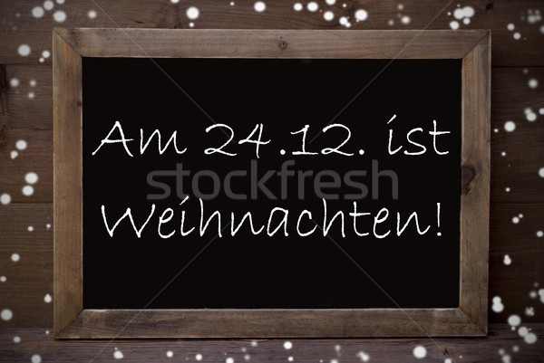 Chalkboard With Weihnachten Means Merry Christmas, Snowflakes Stock photo © Nelosa