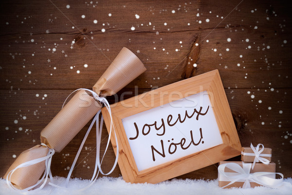 Gift With Text Joyeux Noel Mean Merry Christmas, Snowflake, Snow Stock photo © Nelosa