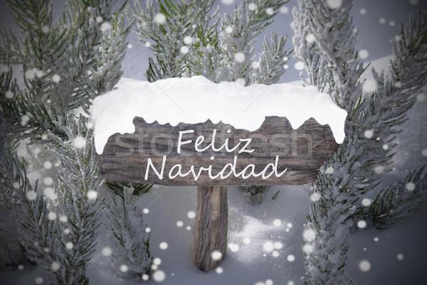 Sign Snowflakes Fir Tree Feliz Navidad Mean Merry Christmas Stock photo © Nelosa