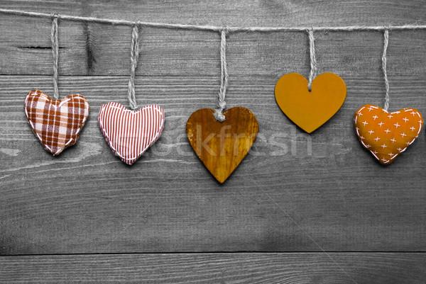 Loving Greeting Card With Orange Hearts Stock photo © Nelosa