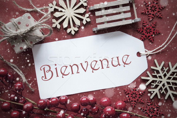 Nostalgic Christmas Decoration, Label With Bienvenue Means Welcome Stock photo © Nelosa