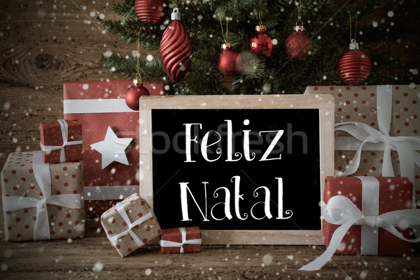 Nostalgic Tree, Snowflakes, Feliz Natal Means Merry Christmas Stock photo © Nelosa