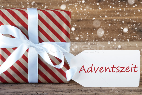 Present With Snowflakes, Text Advetszeit Means Advent Season Stock photo © Nelosa