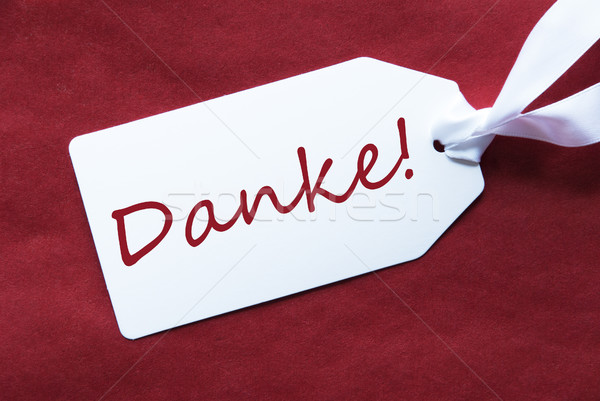 One Label On Red Background, Danke Means Thank You Stock photo © Nelosa