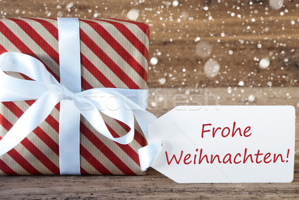 Present With Snowflakes, Text Frohe Weihnachten Means Merry Chri Stock photo © Nelosa