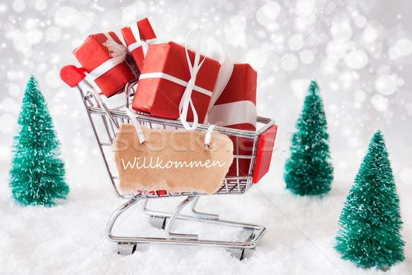 Trolly With Christmas Gifts And Snow, Willkommen Means Welcome Stock photo © Nelosa