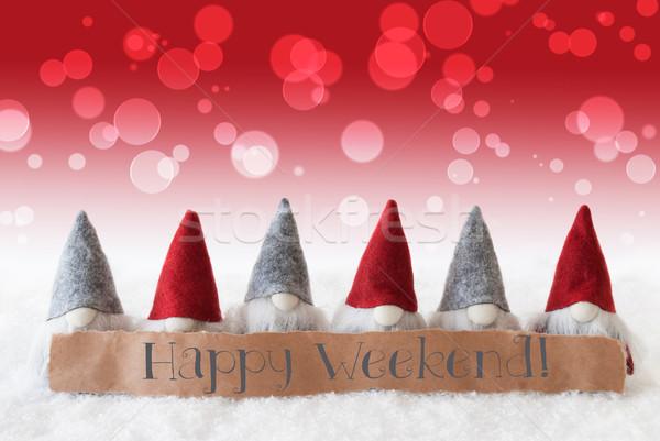 Czerwony bokeh tekst szczęśliwy weekend etykiety Zdjęcia stock © Nelosa