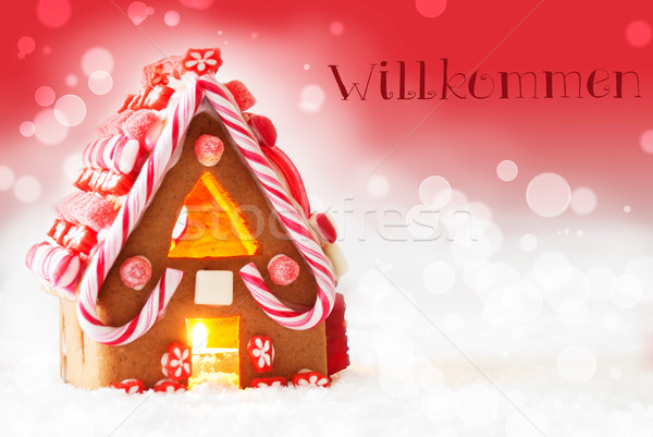 Gingerbread House, Red Background, Text Willkommen Means Welcome Stock photo © Nelosa