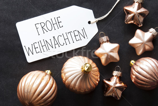 Bronze Tree Balls, Frohe Weihnachten Means Merry Christmas Stock photo © Nelosa