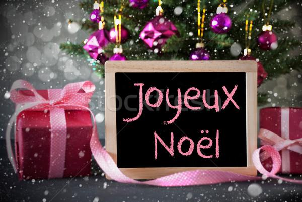 Tree With Gifts, Snowflakes, Bokeh, Joyeux Noel Means Merry Christmas Stock photo © Nelosa