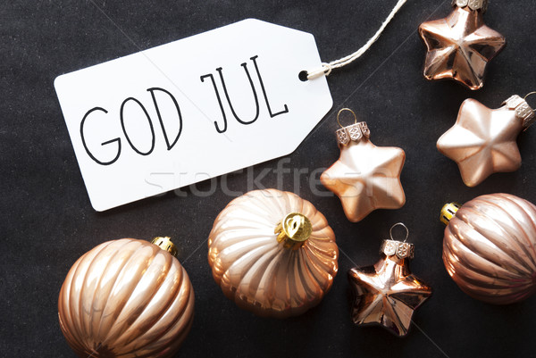 Bronze Tree Balls, God Jul Means Merry Christmas Stock photo © Nelosa