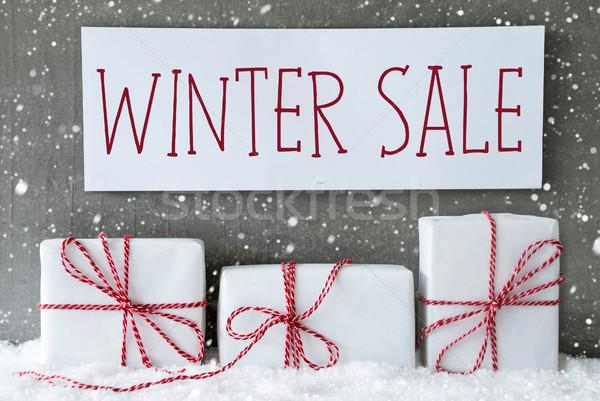 White Gift With Snowflakes, Text Winter Sale Stock photo © Nelosa
