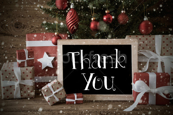 Nostalgic Christmas Tree With Thank You, Snowflakes Stock photo © Nelosa