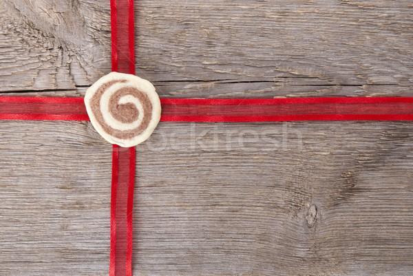 red ribbon on wood Stock photo © Nelosa