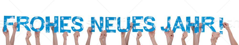 Many People Holding Frohes Neues Jahr Stock photo © Nelosa