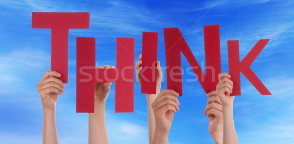 Veel mensen handen Rood woord Stockfoto © Nelosa