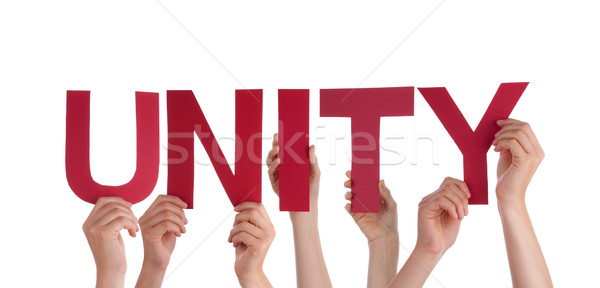 Many People Hands Holding Red Straight Word Unity  Stock photo © Nelosa