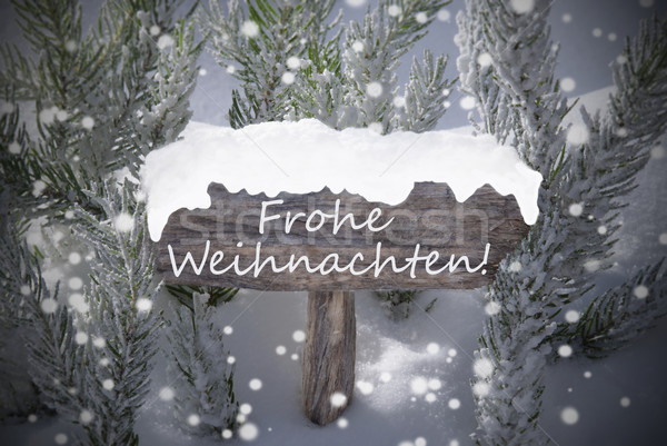 Sign Snowflakes Fir Tree Frohe Weihnachten Mean Merry Christmas Stock photo © Nelosa