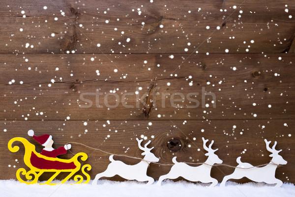 Santa Claus Sled, Reindeer, Snow, Copy Space, Snowflakes Stock photo © Nelosa