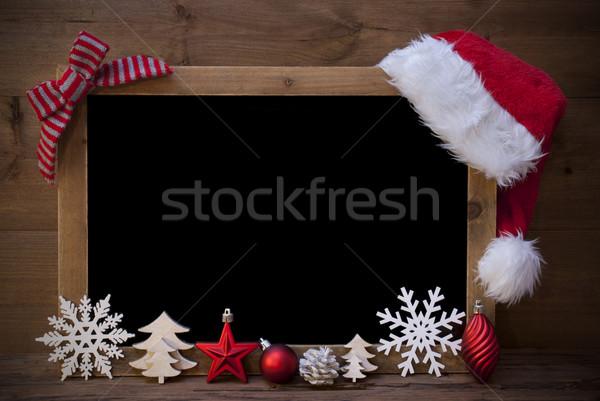 Noel tahta şapka bo kırmızı Stok fotoğraf © Nelosa