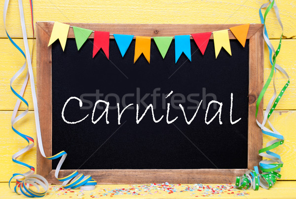 Chalkboard With Party Decoration, Text Carnival Stock photo © Nelosa