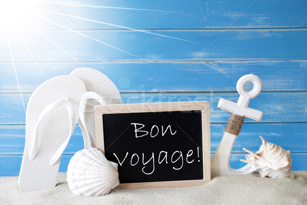 Sunny Summer Card With Bon Voyage Means Good Trip Stock photo © Nelosa