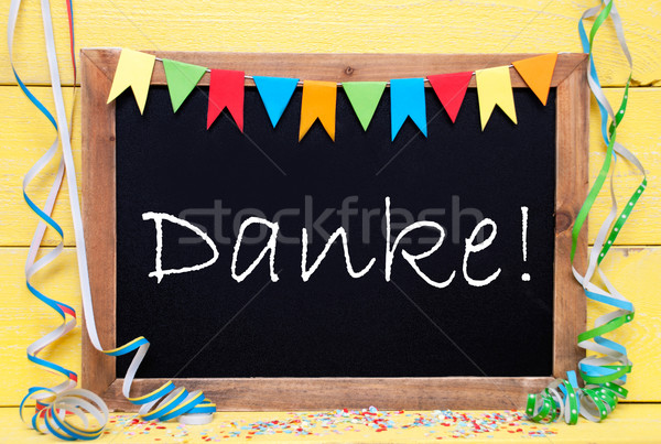 Chalkboard With Party Decoration, Text Danke Means Thank You Stock photo © Nelosa