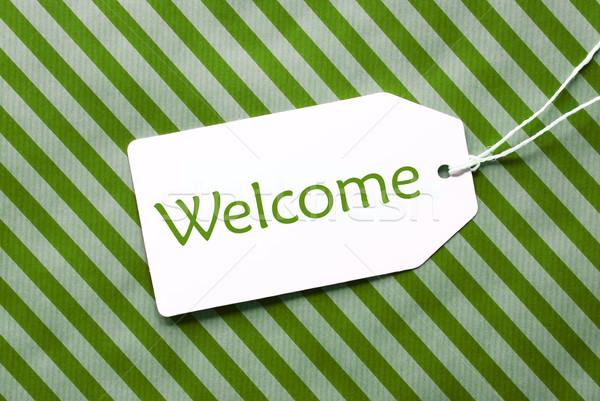 Címke zöld csomagolópapír szöveg üdvözlet egy Stock fotó © Nelosa