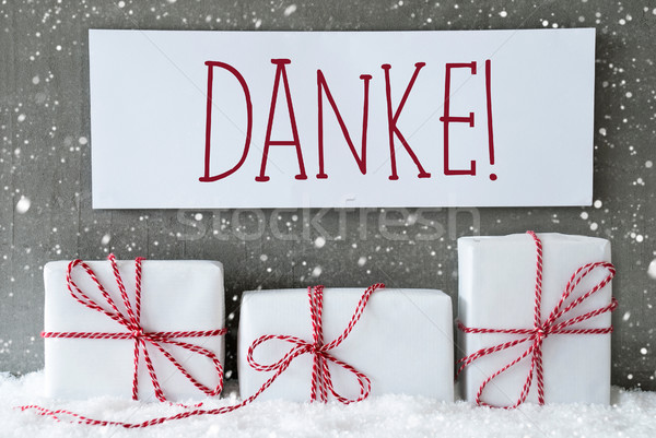 White Gift With Snowflakes, Danke Means Thank You Stock photo © Nelosa