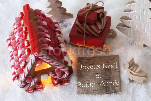 Stockfoto: Peperkoek · huis · sneeuw · gelukkig · nieuwjaar · label · frans