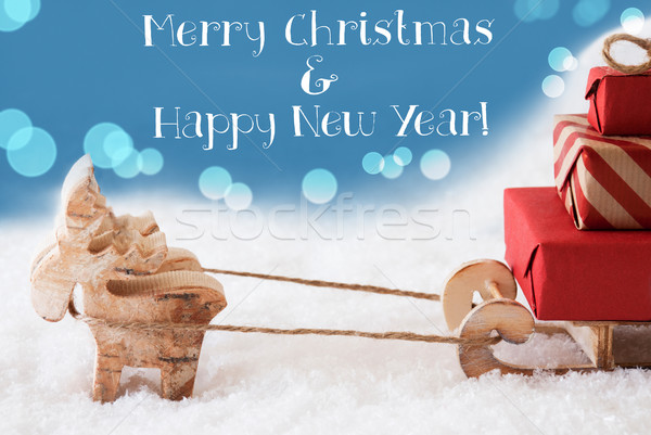 Reindeer, Sled, Light Blue Background, Text Merry Christmas, New Year Stock photo © Nelosa