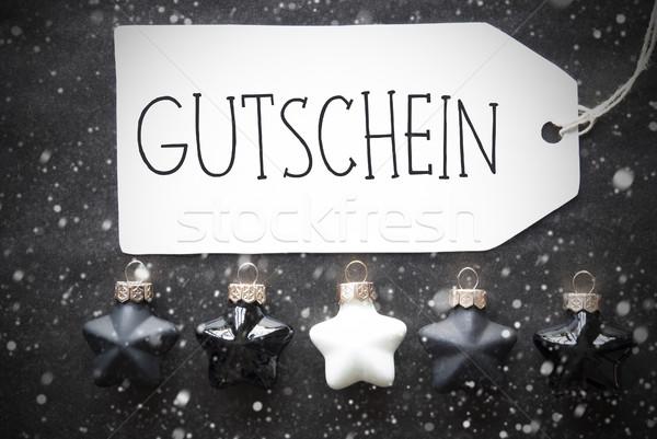 Zwarte christmas sneeuwvlokken bon label Stockfoto © Nelosa