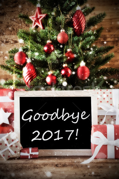 Karácsonyfa viszlát karácsonyi üdvözlet évszakok üdvözlet golyók Stock fotó © Nelosa