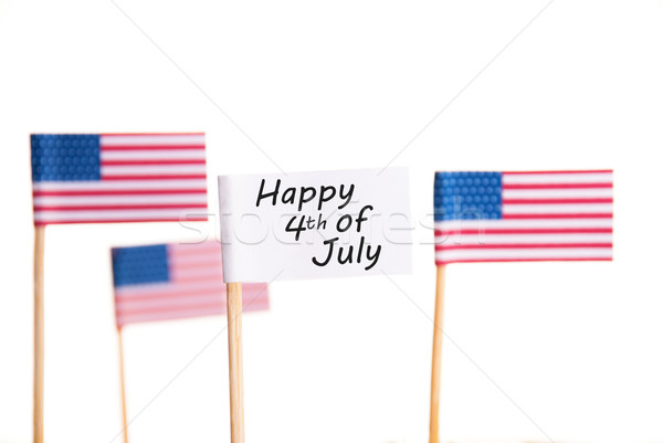 счастливым белый флаг американский флагами Сток-фото © Nelosa