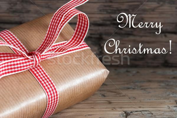 Stockfoto: Christmas · aanwezig · vrolijk · tekst · bruin · natuurlijke
