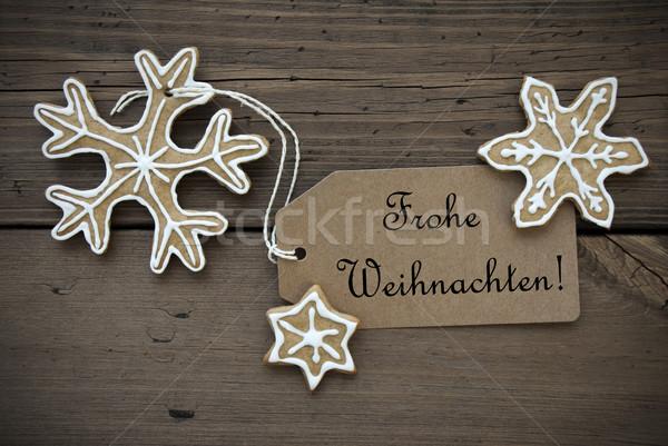 Ginger Bread Stars with Frohe Weihnachten Banner Stock photo © Nelosa