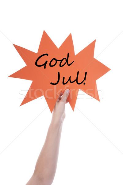 Narancs szöveglufi Isten kéz tart szövegbuborék Stock fotó © Nelosa
