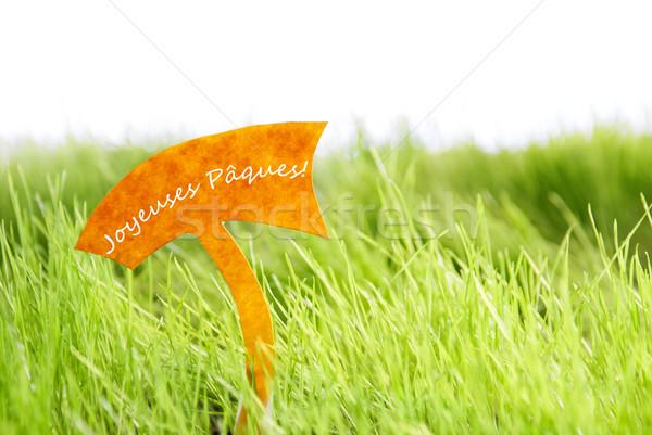 Label французский Христос воскрес зеленая трава текста Солнечный Сток-фото © Nelosa