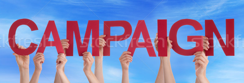 Many People Hands Holding Red Straight Word Campaign Blue Sky Stock photo © Nelosa