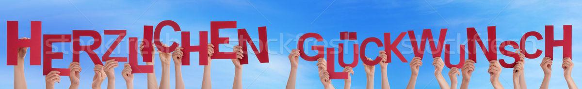 Emberek gratuláció égbolt sok kaukázusi kezek Stock fotó © Nelosa