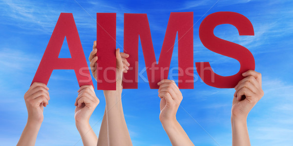 Hands Holding Red Straight Word Aims Blue Sky Stock photo © Nelosa