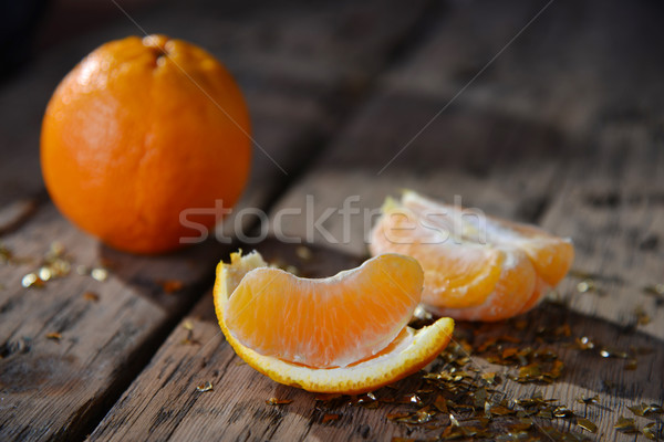 Christmas Food, Orange Fruit, Golden Glitter, Wooden Background Stock photo © Nelosa