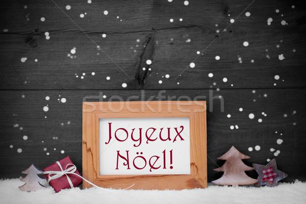 Gray Frame With Joyeux Noel Means Merry Christmas, Snowflakes Stock photo © Nelosa