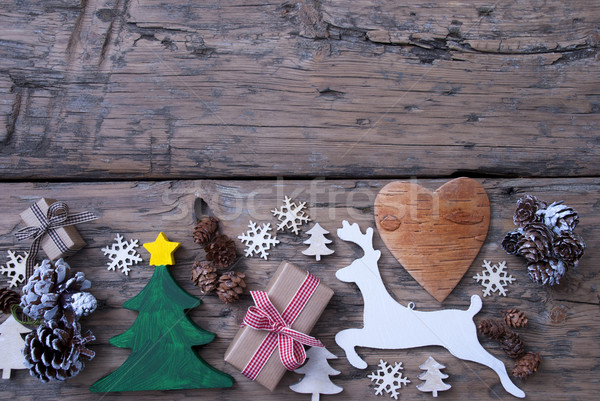 Brown, Green, Red Christmas Decoration, Tree, Reindeer, Gift Stock photo © Nelosa
