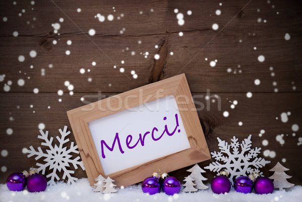 Stock photo: Purple Christmas Decoration, Snow, Merci Mean Thanks, Snowflakes