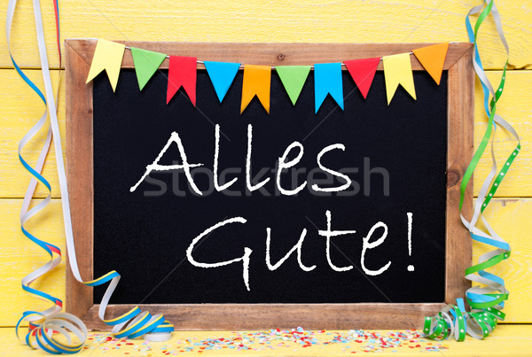Chalkboard With Party Decoration, Text Alles Gute Means Best Wishes Stock photo © Nelosa