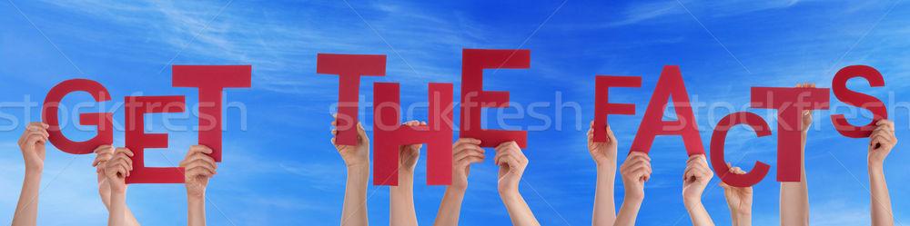 Personnes mains rouge mot réalités Photo stock © Nelosa